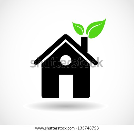 Eco house icon with green leaves in the chimney vector - stock vector