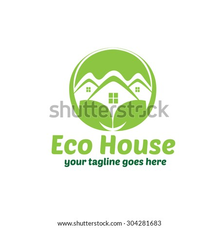 Eco House Logo Template - stock vector