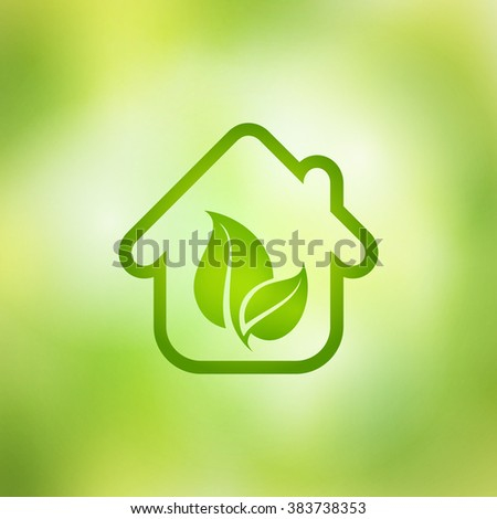Eco house vector on a green background. - stock vector