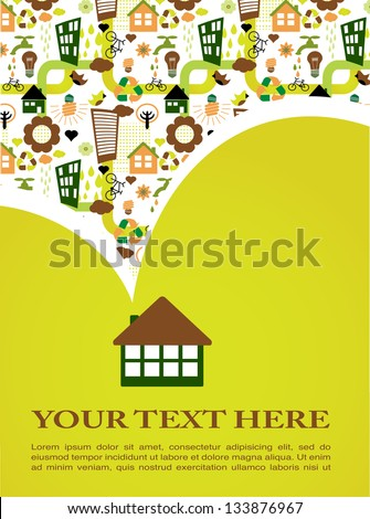 Eco house with ecological pattern - stock vector