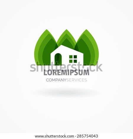 Eco house with green leaves. House logo. Ecological house icon. - stock vector