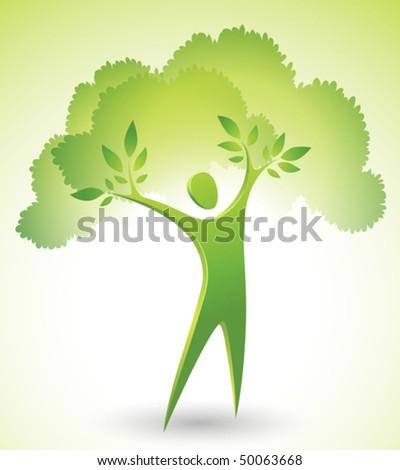 Eco-icon of a green tree man - stock vector