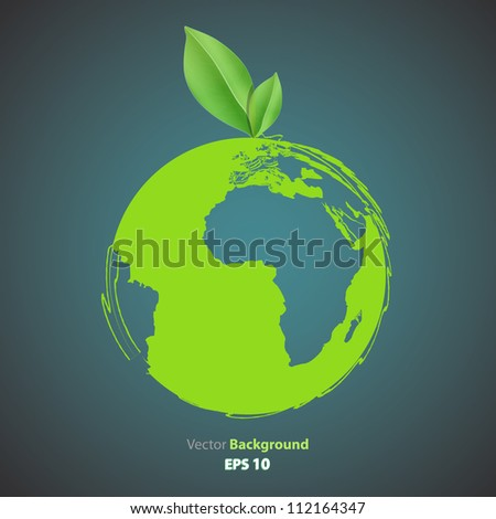 Eco icon of a leaf on a planet. Vector design. - stock vector