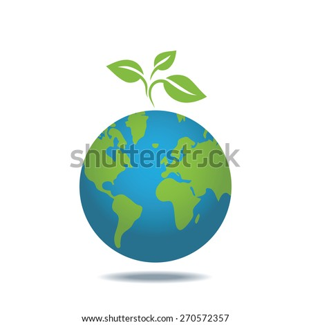 Eco icon of green leaves on a planet. Vector design, ecology concept. - stock vector