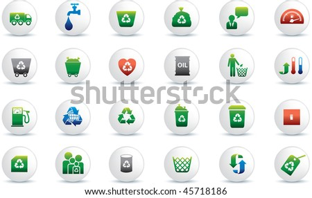 Eco icon set illustrated as white buttons - stock vector