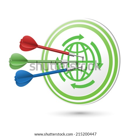 ECO icon target with darts hitting on it over white - stock vector