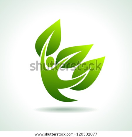 Eco Icon with green dancer - stock vector