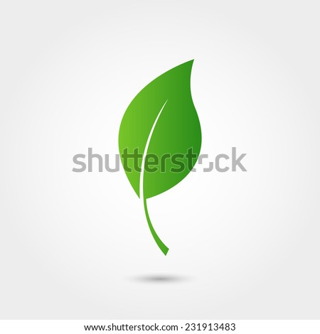Eco icon with green leaf - stock vector