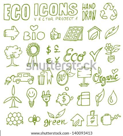 eco icons eco icons hand draw 1 - stock vector