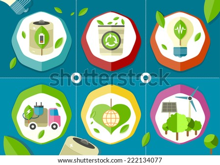 Eco icons green battery car on stylish background - stock vector