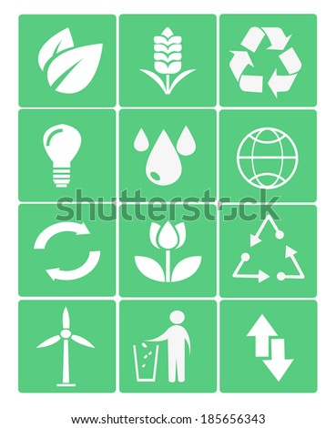 eco icons in green - stock vector