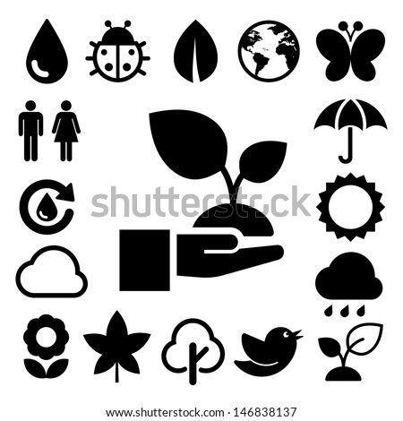 Eco icons set.Elements of this image furnished by NASA - stock vector