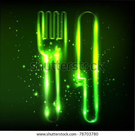 eco  knife and fork neon sign - stock vector