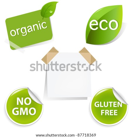 Eco Labels Set, Isolated On White Background, Vector Illustration - stock vector