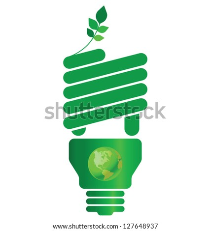 Eco light bulb isolated on white background - stock vector