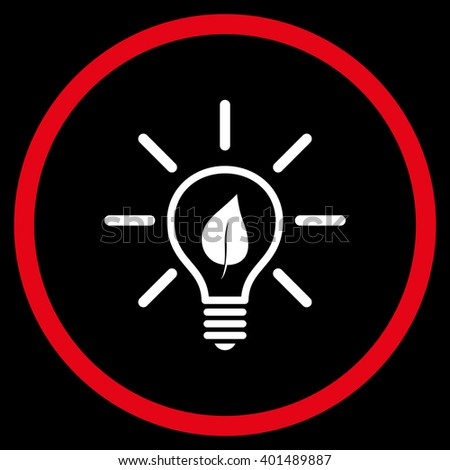 Eco Light Bulb vector bicolor icon. Image style is a flat icon symbol inside a circle, red and white colors, black background. - stock vector
