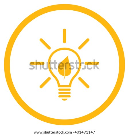 Eco Light Bulb vector icon. Image style is a flat icon symbol inside a circle, yellow color, white background. - stock vector