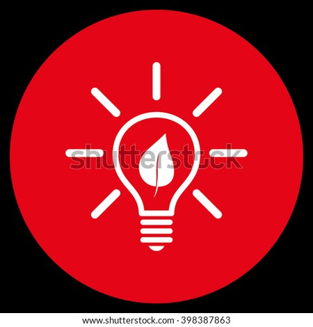 Eco Light Bulb vector icon. Image style is a flat icon symbol on a round button, red and white colors, black background. - stock vector