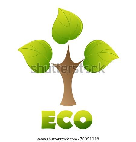 Eco logo - green tree - stock vector