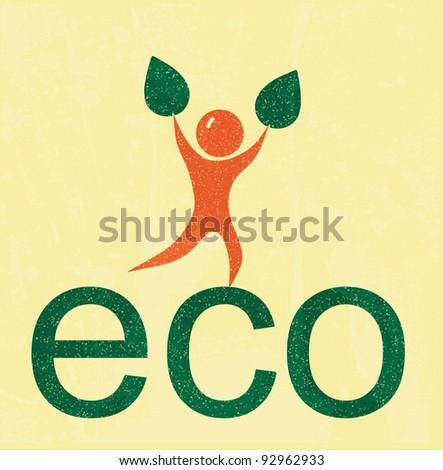 Eco man. retro poster - stock vector