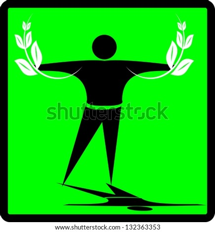 Eco man with green leaves in hands - stock vector