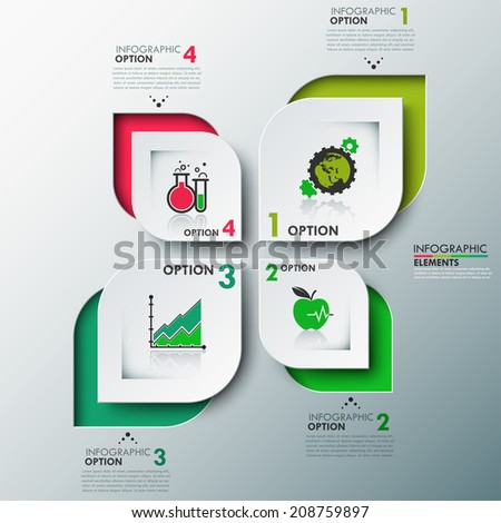 Eco modern infographics options template with paper leaves , icons and text for 4 options. Vector. Can be used for web design and workflow layout - stock vector