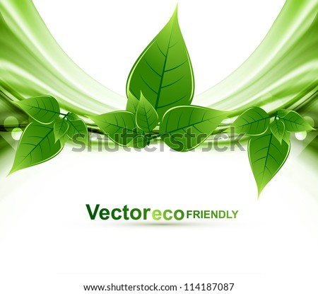 eco natural green lives stylish wave vector background illustration - stock vector