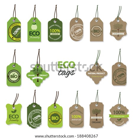 Eco organic labels big set. - stock vector