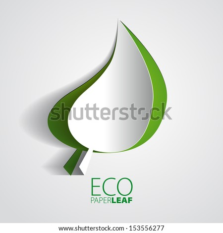 ECO Paper Leaf - vector element for ecological design - stock vector