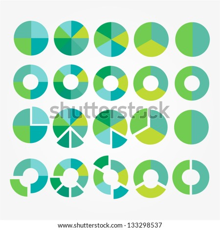 Eco pie diagram set. Circle cart infographic design. Element of process for your design. Vector icons. - stock vector