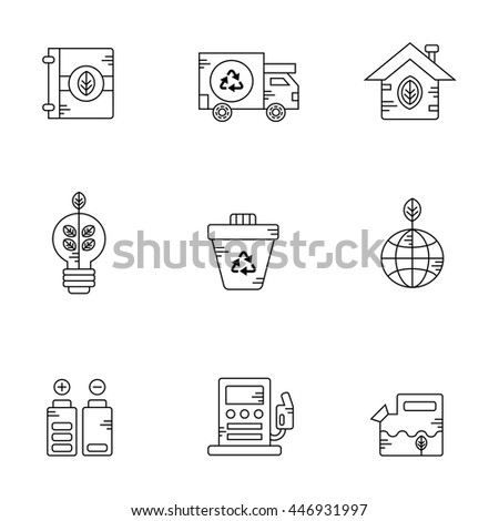 Eco, recycling and clean energy vector icon set  - stock vector