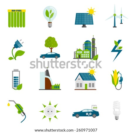 Eco renewable and alternative energy flat icons set isolated vector illustration - stock vector