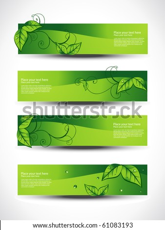eco set of headers with four different style - stock vector