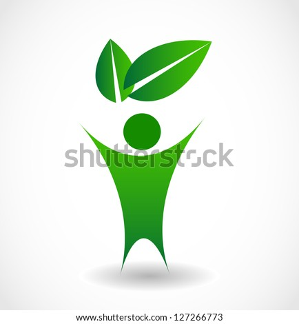 Eco sign icon with person and leaf vector - stock vector