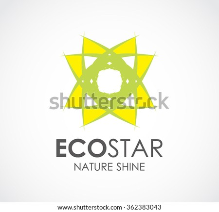 Eco star of light nature abstract vector and logo design or template ecology shine business icon of company identity symbol concept - stock vector