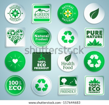 Eco stickers, labels and buttons. EPS10. - stock vector