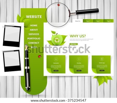 eco style vector web template on white wood board, creative vector design  - stock vector