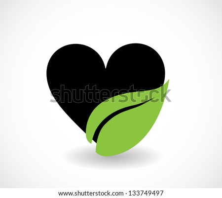 Eco symbol - heart with leaf icon isolated vector - stock vector