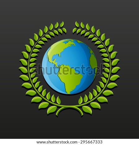 Eco symbol with earth and wreath of leaves. Vector illustration. - stock vector