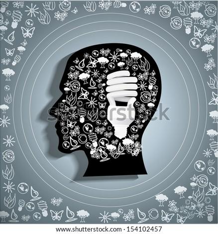 Eco symbols in the head. Vector illustration. - stock vector