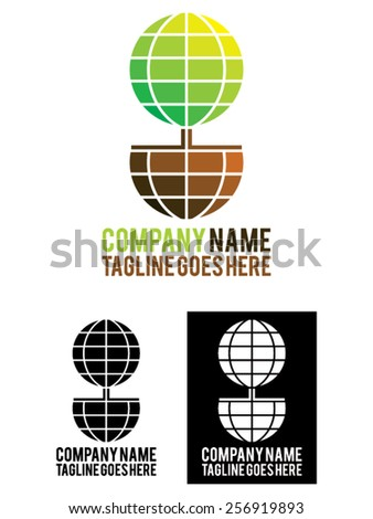 Eco system, vector illustration. Usable as a template logo, represents the world as a plant growing from the earth. Ideal for business and company related to ecology, nature, environment ... - stock vector
