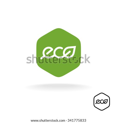 Eco text badge with green leaf. Linear style letters logo. Rounded hex shape background. - stock vector