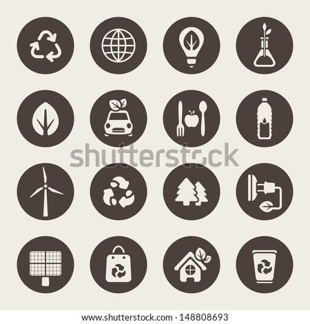 Eco theme icons set - stock vector