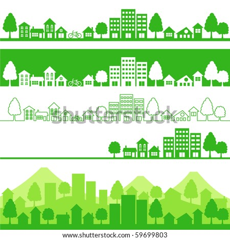 eco town - stock vector