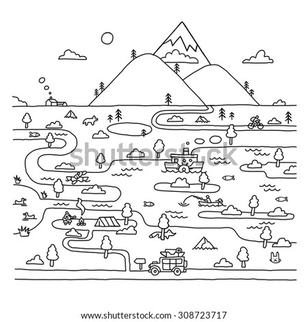 Eco travel in doodle style. Outdoor. - stock vector