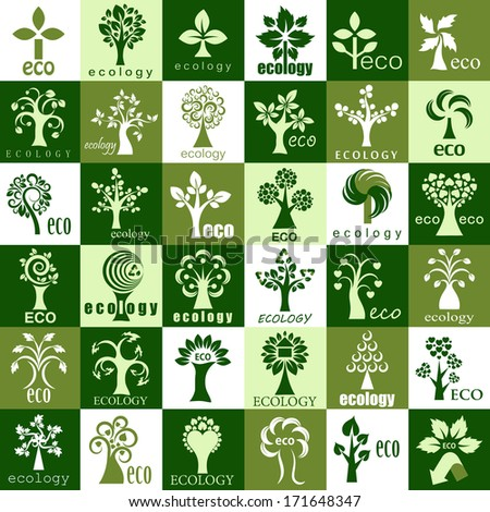 Eco Tree Icons - Isolated On Background - Vector Illustration, Graphic Design Editable For Your Design.  - stock vector