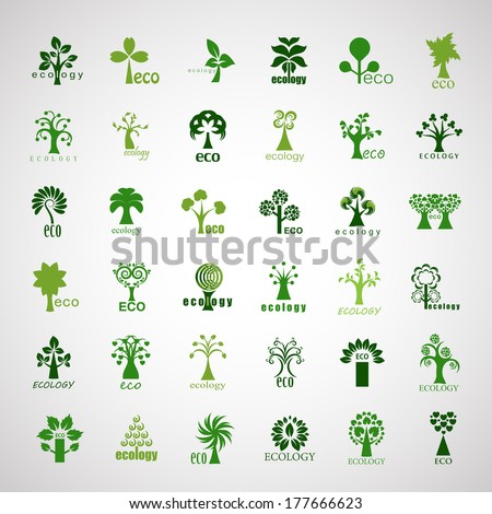 Eco Tree Icons Set - Isolated On Gray Background - Vector Illustration, Graphic Design Editable For Your Design. - stock vector