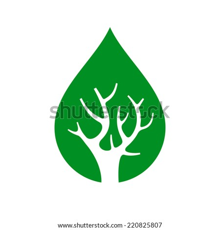 Eco Tree inside Drop, Isolated On White Background, Vector illustration - stock vector