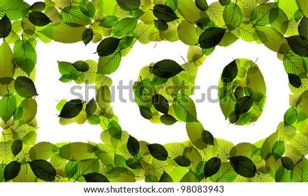 Eco - vector word made from fresh green leafs - stock vector