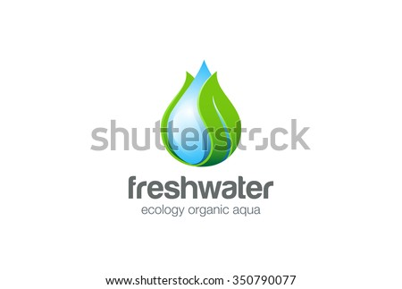 Eco Water drop leaf Logo design vector template. Natural mineral clear ecology water aqua Logotype. Green Energy concept icon. - stock vector